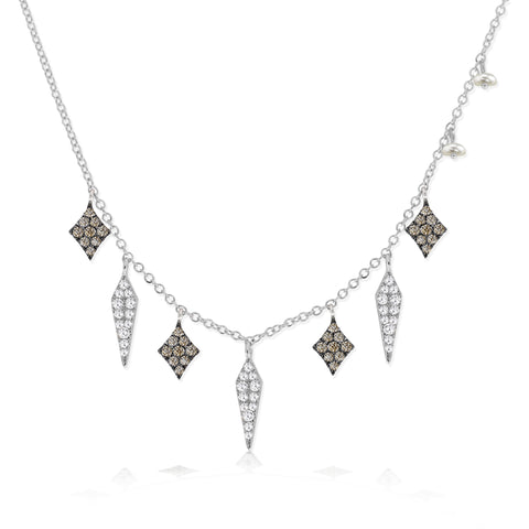 White Gold and Diamonds Bar Necklace