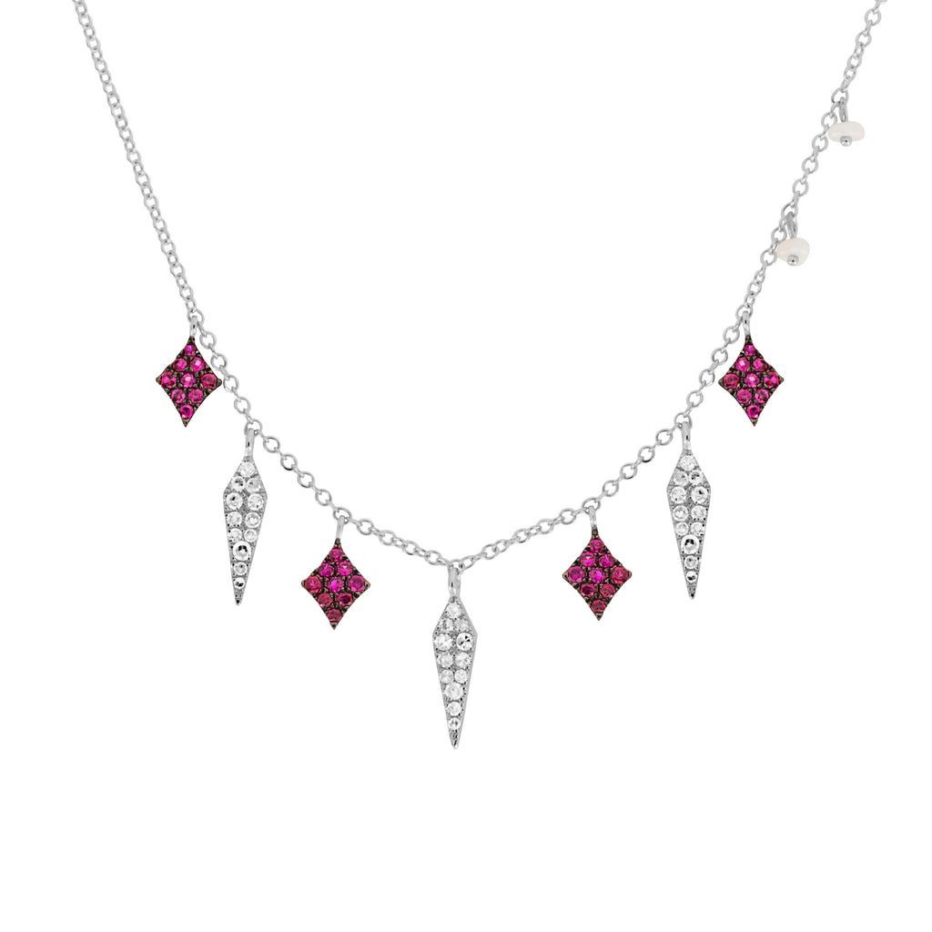 heart gold pendant necklace with white ruby diamonds