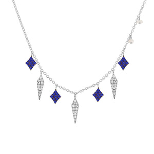 Meira T White Gold and Blue Sapphire Necklace