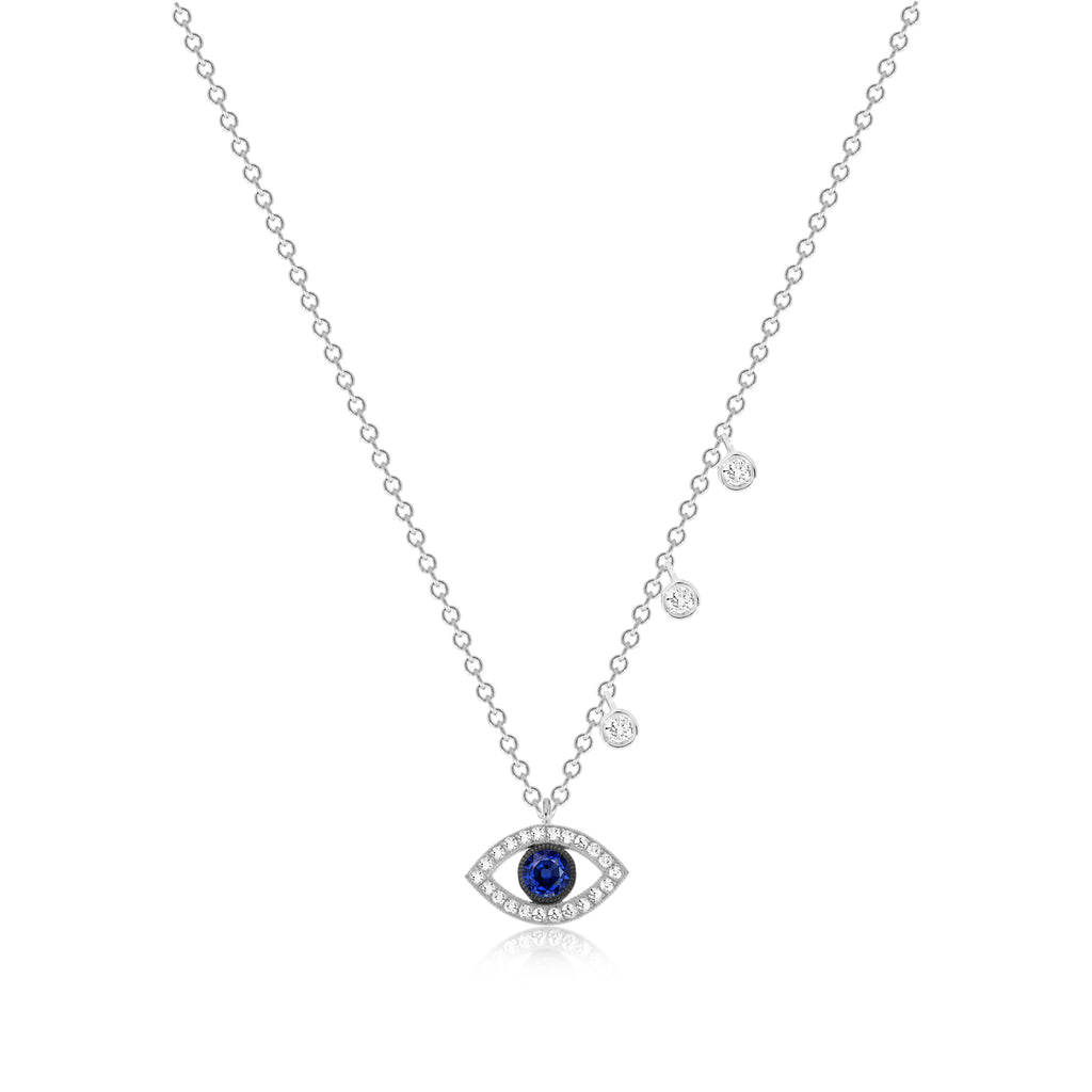 Evil Eye Sapphire Charm Necklace