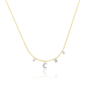 moon and star diamond necklace