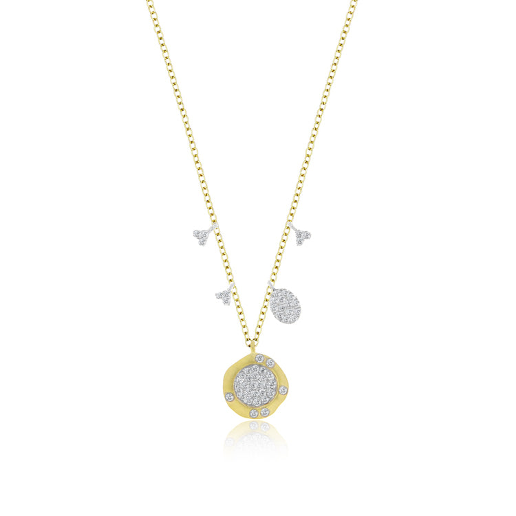 Diamond Encrusted Disk Necklace