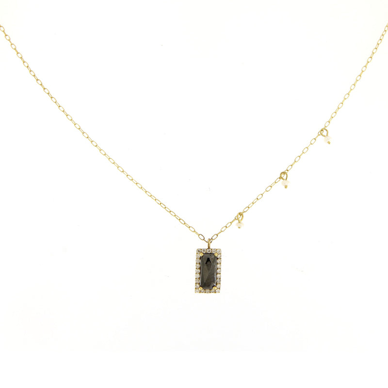 Hematite Yellow Gold Necklace