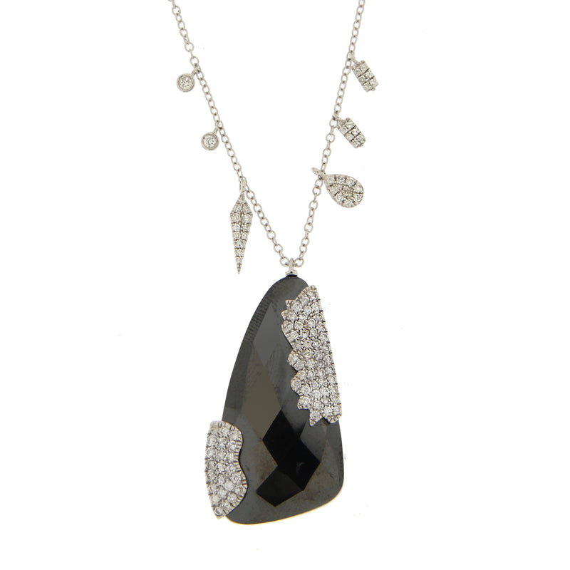 White Gold Hematite Necklace with Side Charms