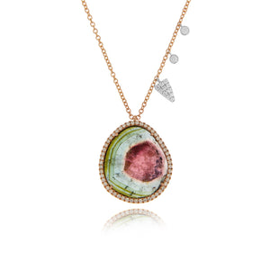 Watermelon Tourmaline Rose Gold Necklace