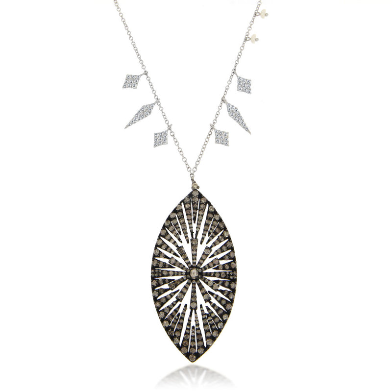 Diamond Starburst Leaf-Shaped Necklace