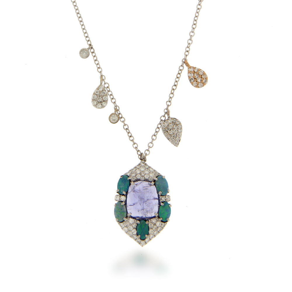 Tanzanite and Opal White Gold Diamond Necklace. ONE OF A KIND