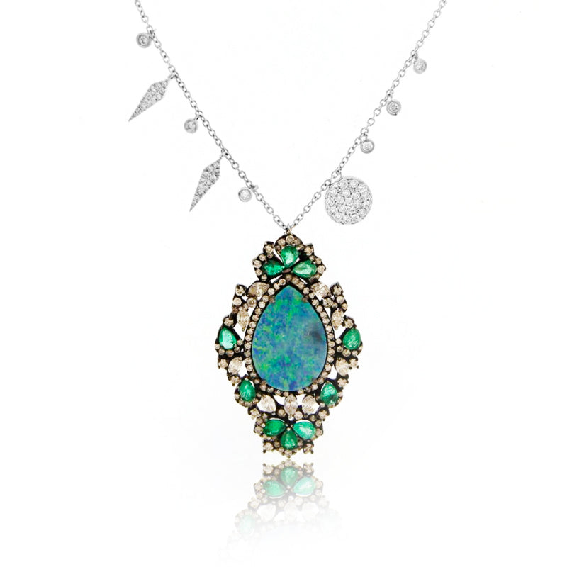 Emerald Opal and Diamonds Necklace