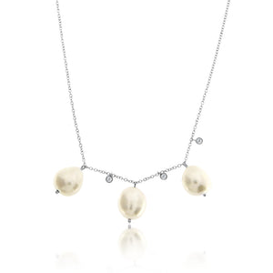 Pearls and Diamond Bezel Necklace