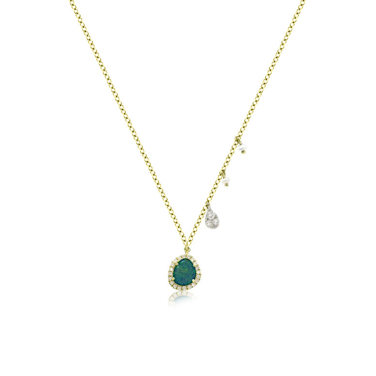 Yellow Gold Opal Dainty Necklace