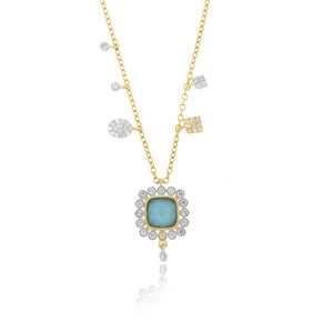 Turquoise Diamond Charm Necklace