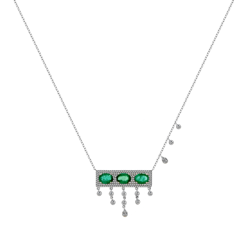 White Gold Emerald Diamond Necklace