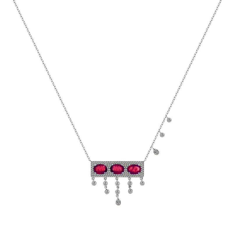 Ruby and Diamond White Gold Necklace