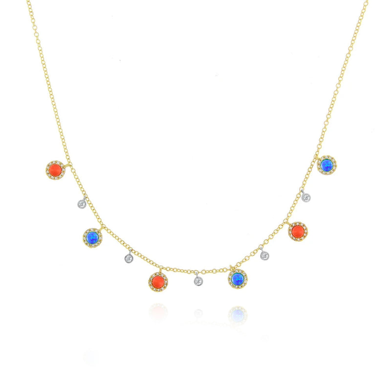 Blue Opal and Coral Bezel Necklace