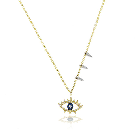 Sapphire and Diamond Evil Eye Necklace