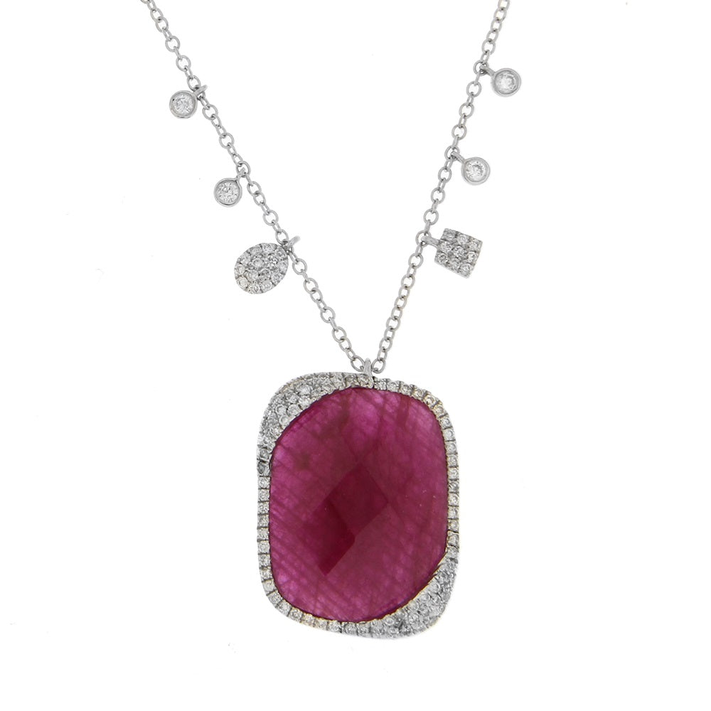 White Gold Ruby Neckalce