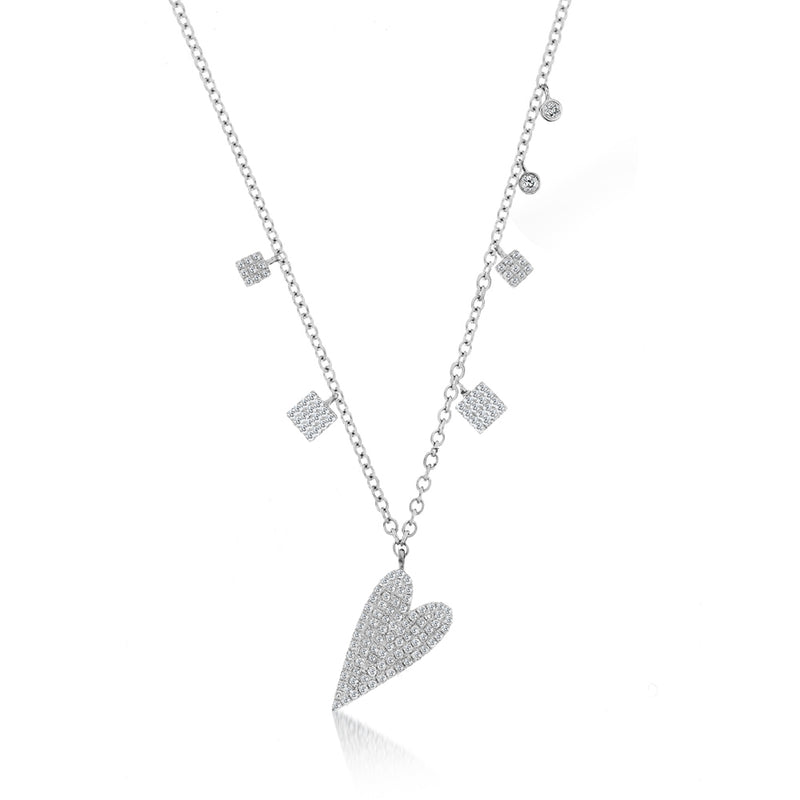 heart shaped necklace with diamonds