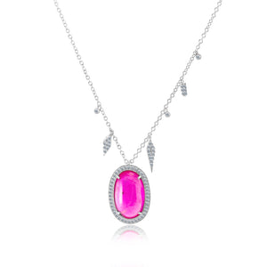 Cabochon Cut Ruby Necklace