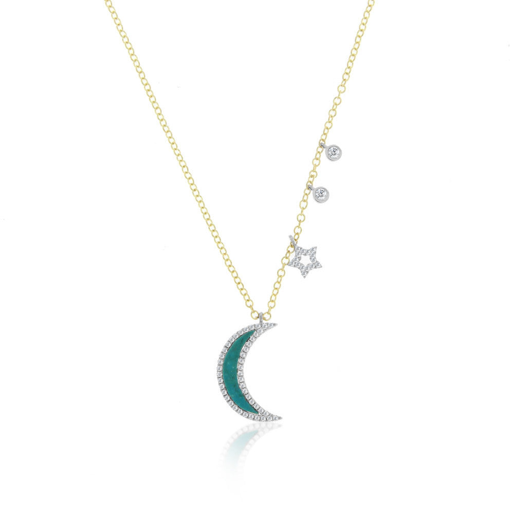Turquoise Moon and Star Necklace