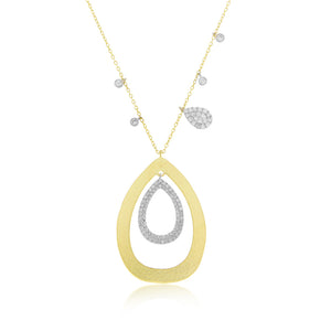 Diamond Tear Drop Halo Necklace