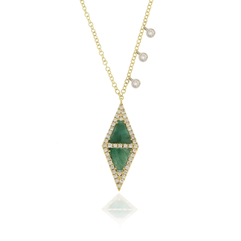 Emerald and Yellow Gold Diamond Necklace
