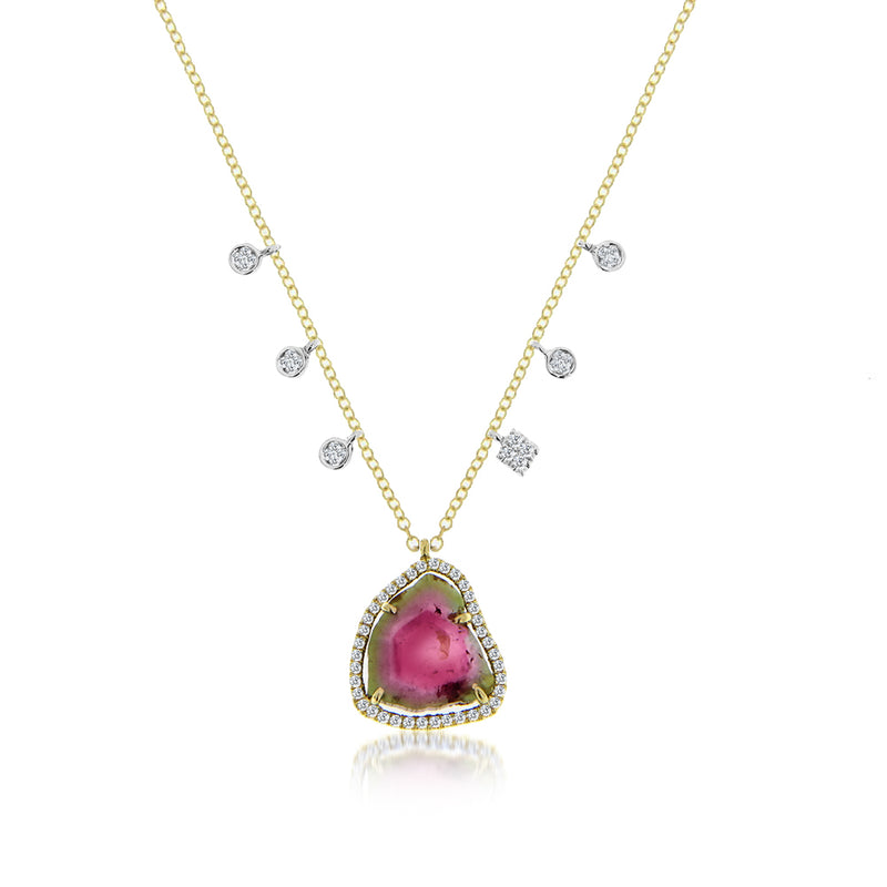 Watermelon Tourmaline Charm Necklace