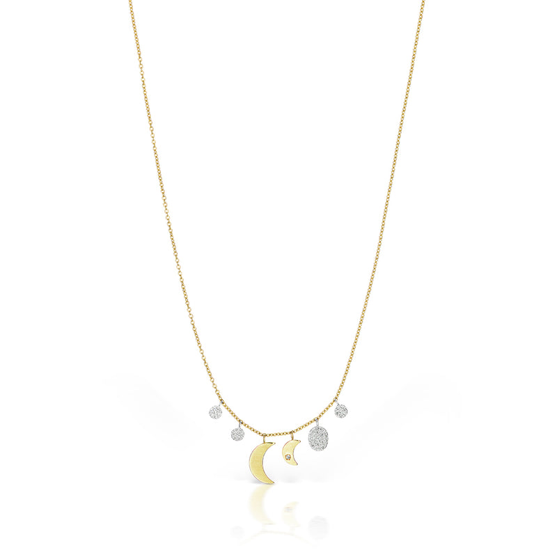 yellow gold double moon necklace