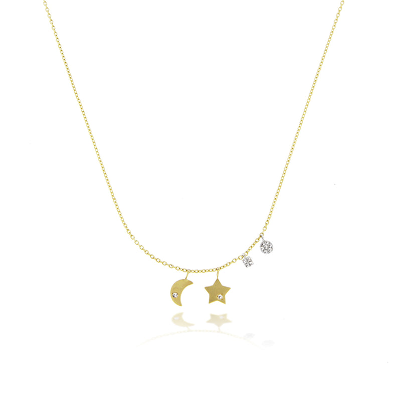 moon and star dainty necklace