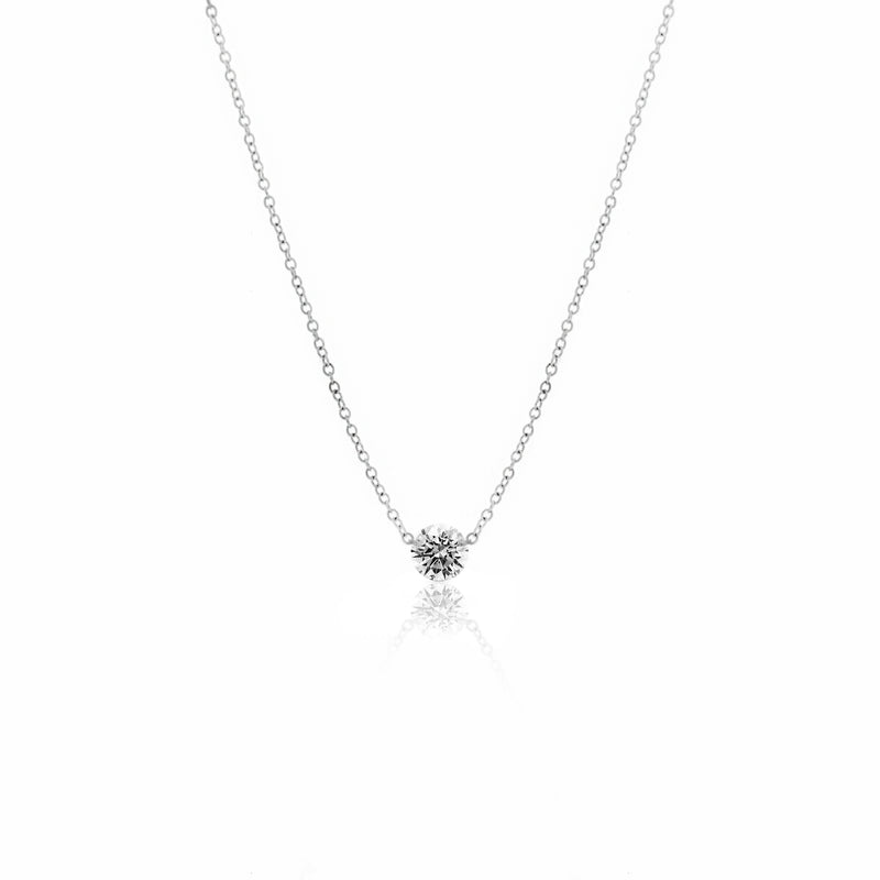 White Gold Solitaire Drilled Diamond Necklace