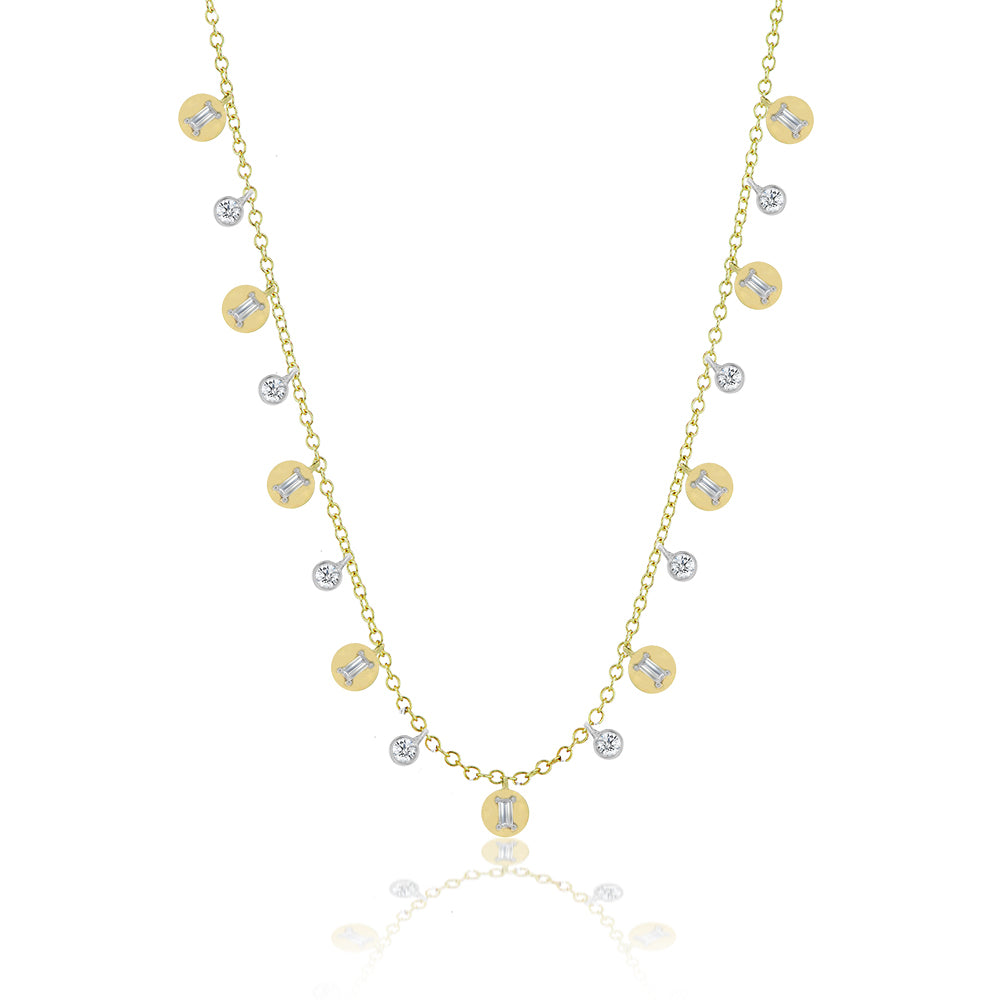 Coin and Bezel Diamond Necklace
