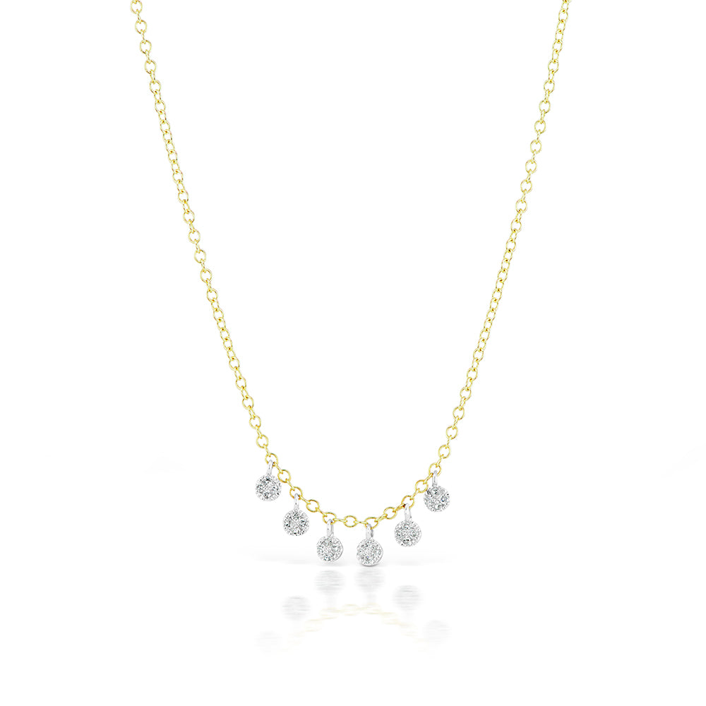 gold pave charm necklace with diamonds