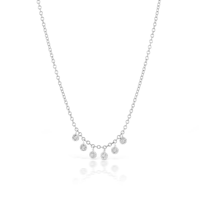 White Gold Pave Charm Necklace