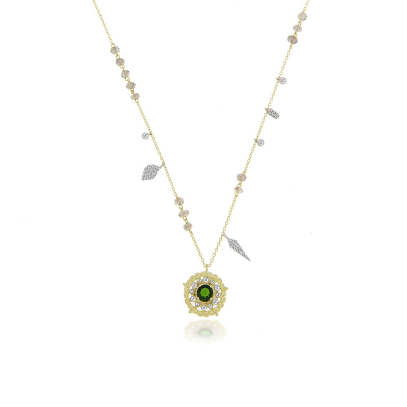 Chrome Tourmaline Necklace with Leaf Charms