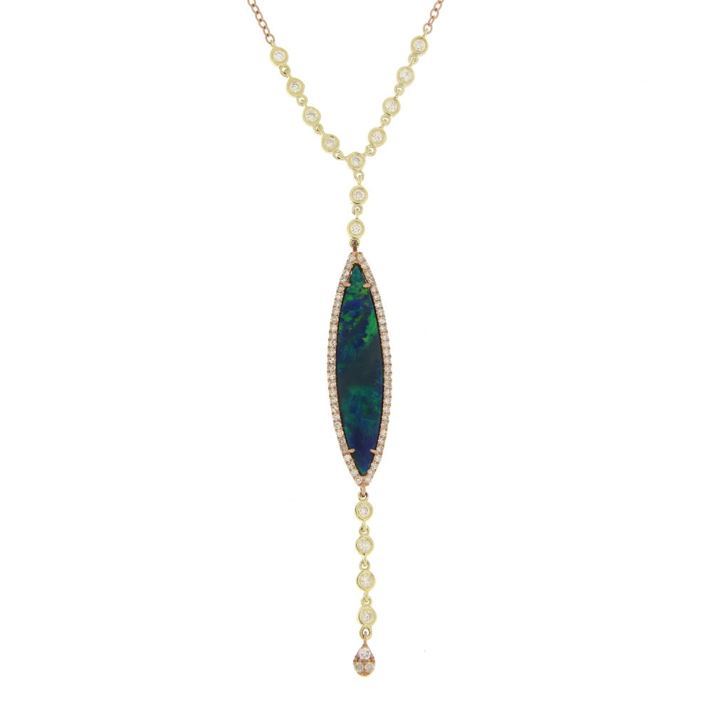 Yellow Gold Diamond Opal Y Necklace