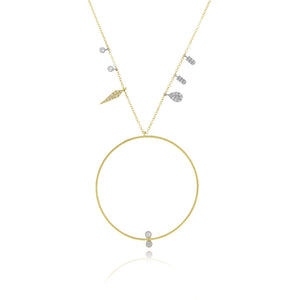 Yellow Gold Open Circle Charm Necklace