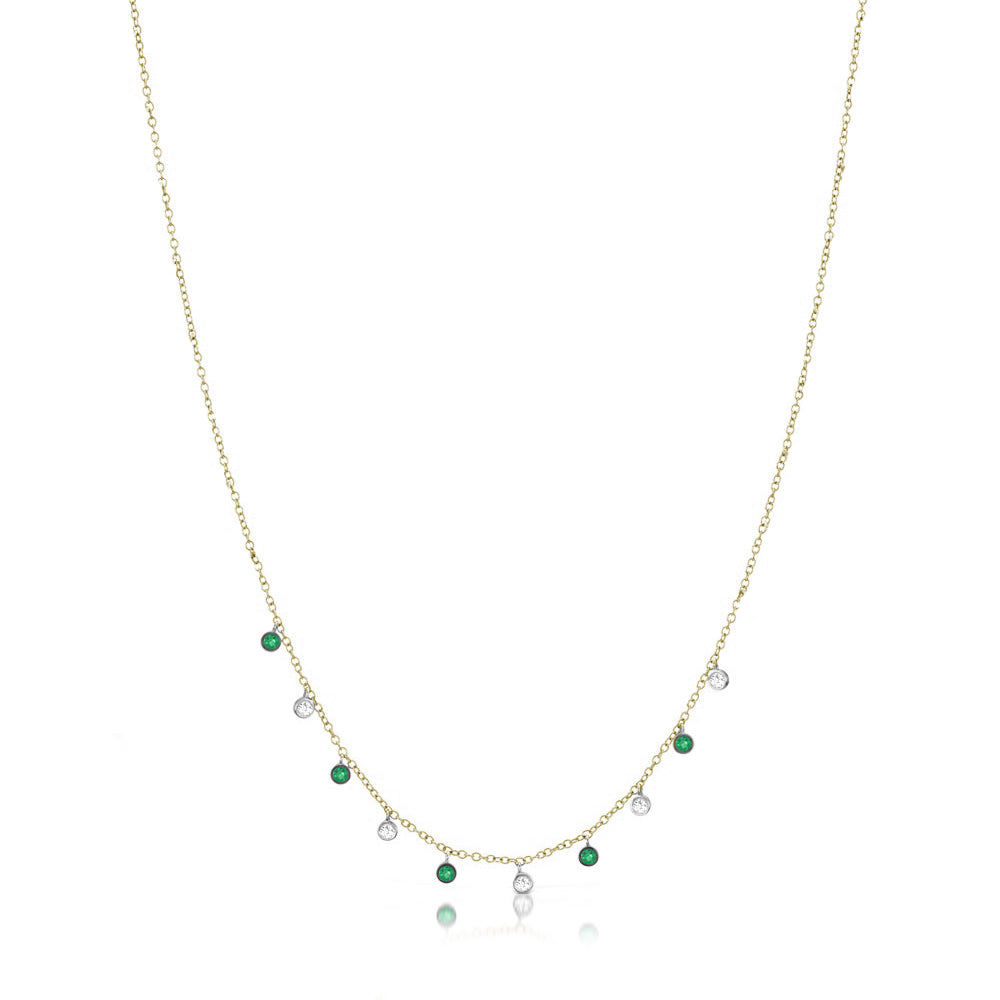 Diamond and Emerald Bezel Necklace