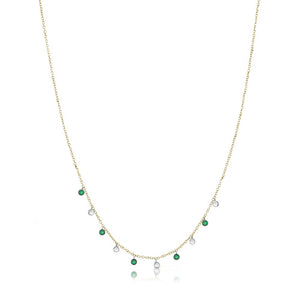 Diamond and Emerald Diamond Necklace