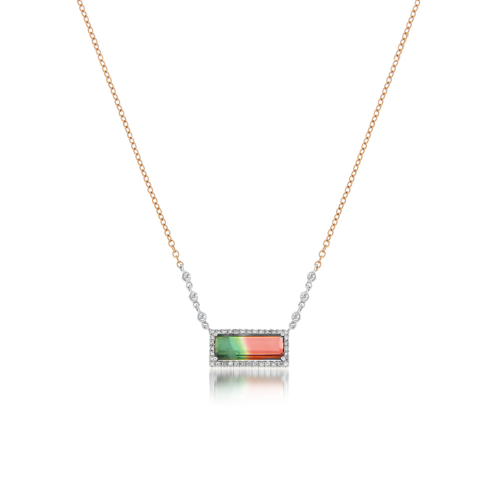 Yellow Gold Watermelon Tourmaline Bar Necklace