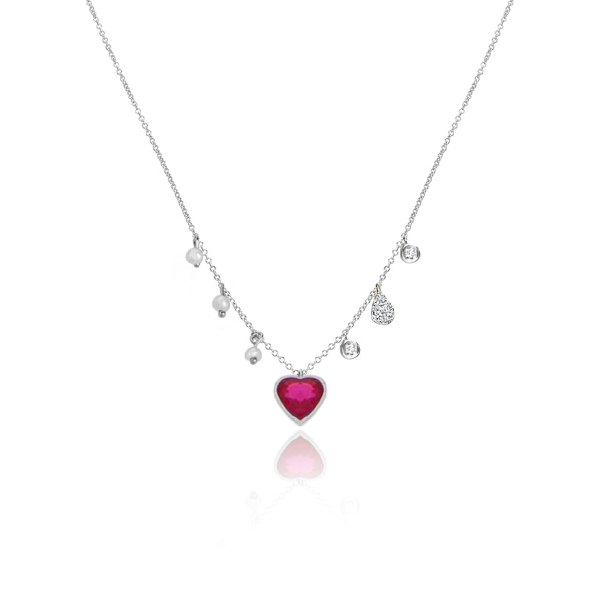 Dainty Ruby Heart Necklace
