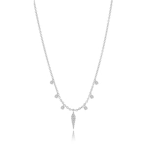 White Gold Diamond Dagger Necklace