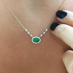 emerald cut diamond bezel necklace