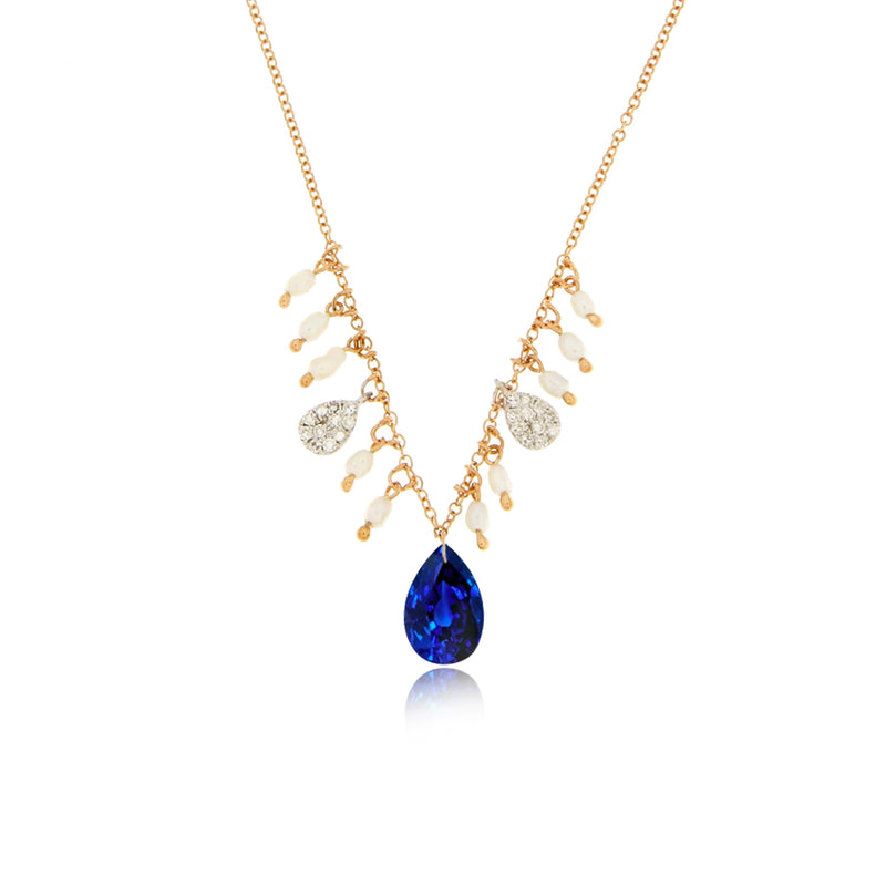 Yellow Gold Drilled Blue Sapphire Necklace