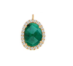 Yellow Gold Emerald Diamond Drop