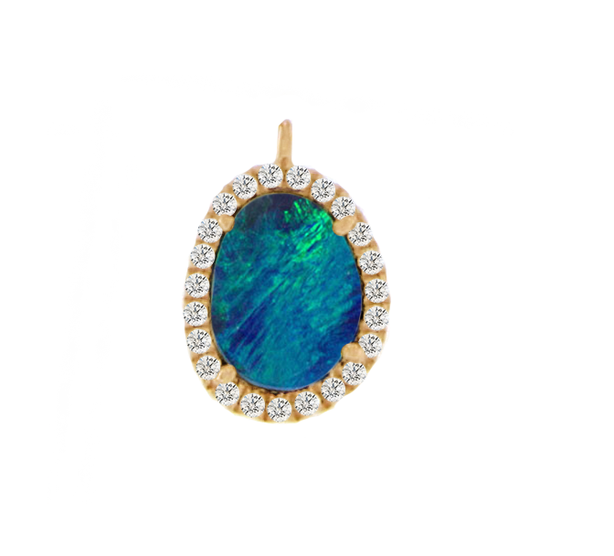 Yellow Gold Diamond Opal Drop