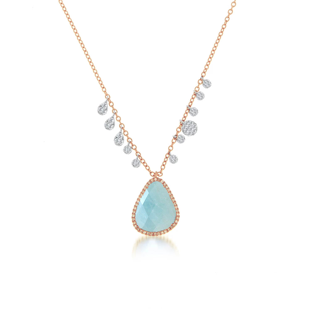 Milky Aqua Charm Necklace