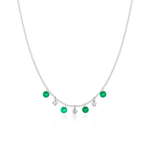 Emerald and Diamond Bezel Necklace