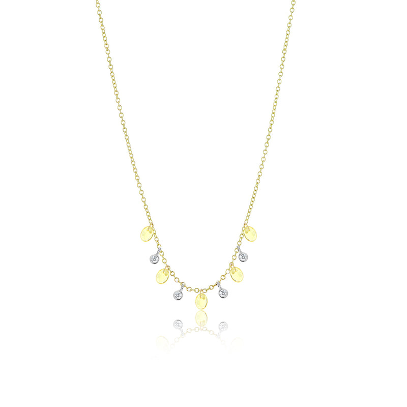 Yello Sapphire Drilled Diamond Necklace