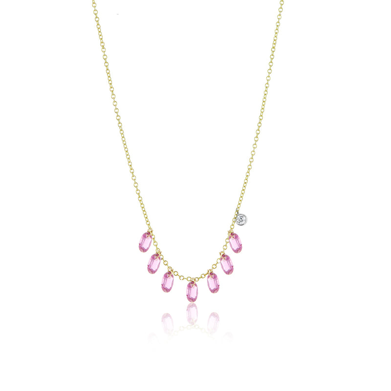 Pink Sapphire Drilled Necklace