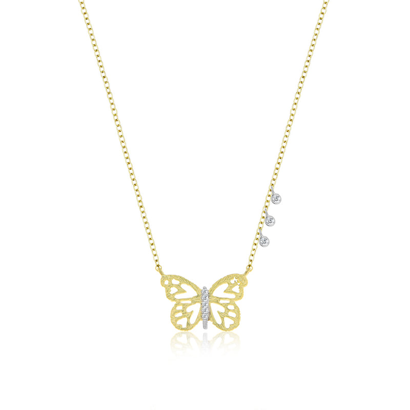 Gold and Diamond Butterfly Necklace
