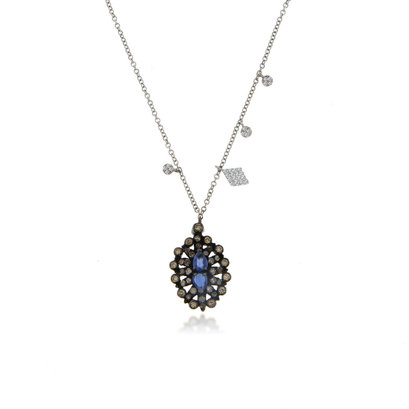 White Gold Tanzanite Necklace with Brown Diamonds